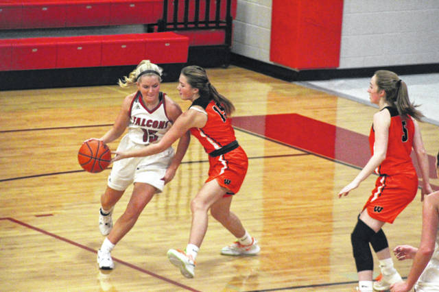 Minford senior Livi Shonkwiler (15) scored 11 second-half points in the Lady Falcons' 69-48 loss to West in SOC II play.