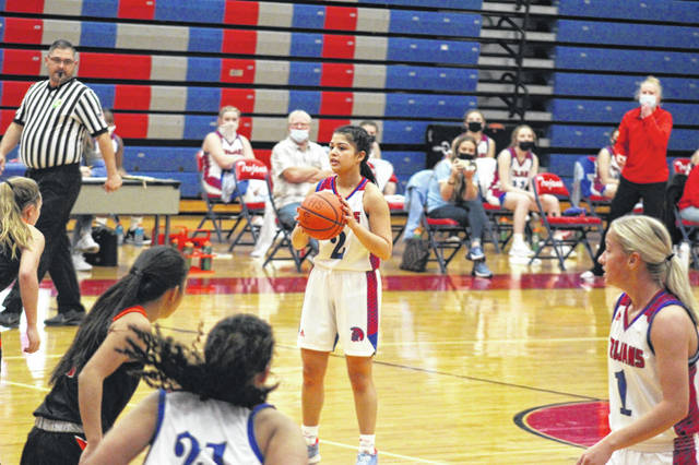 Portsmouth junior Nia Trinidad (2) is the lone upperclassman on the Lady Trojans' 2020-21 varsity girls basketball roster.