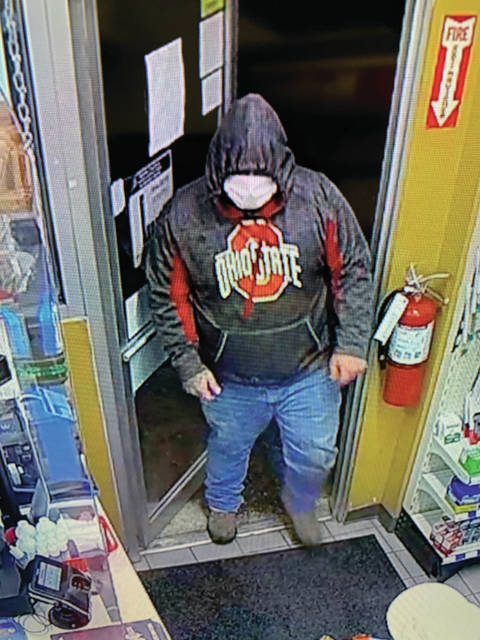 A photo of the suspect from a robbery at Clark's Pump N Shop in Wheelersburg Ohio.