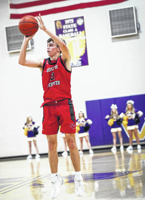 South Webster's Trae Zimmerman (2) attempts a shot during the Jeeps' Southern Ohio Conference Division II boys basketball opener at Valley on Friday night.