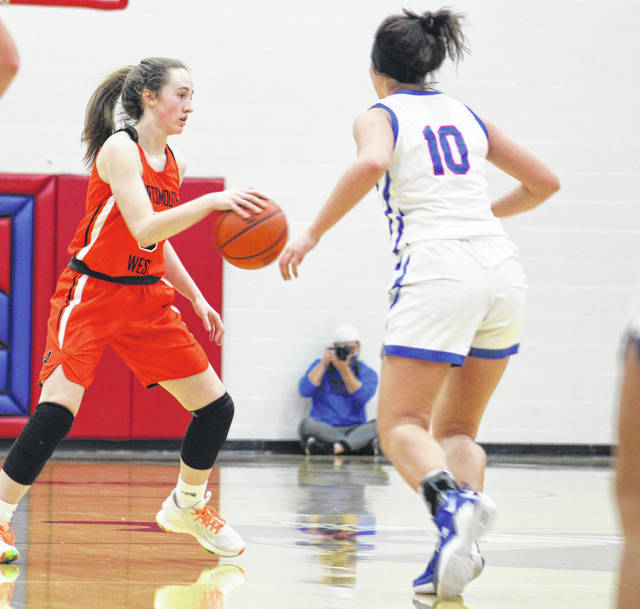 West's Eden Cline scored a game-high 15 points including three three-point goals in the Lady Senators' 43-37 victory at Northwest on Monday night.