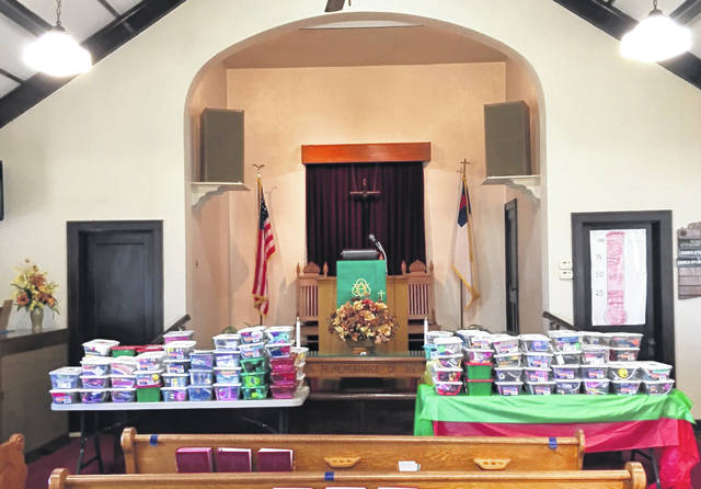 Friendship United Methodist Church's collection of 125 shoeboxes for Operation Christmas Child.