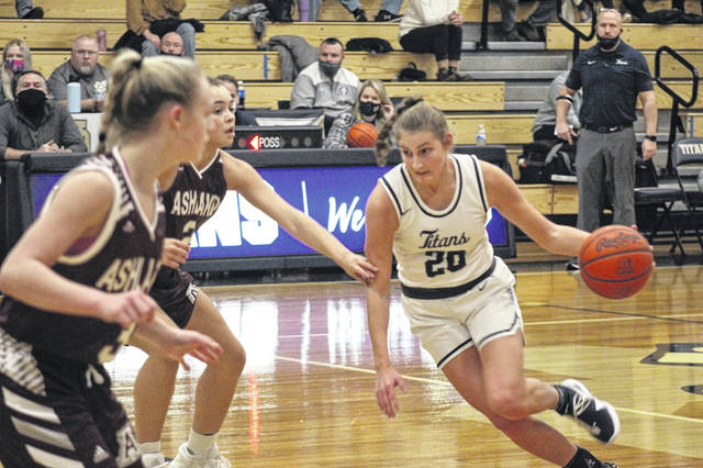 Notre Dame senior Isabel Cassidy (20) scored a game-high 14 points in the Lady Titans' 48-41 win over Ashland on Wednesday night in non-league play.