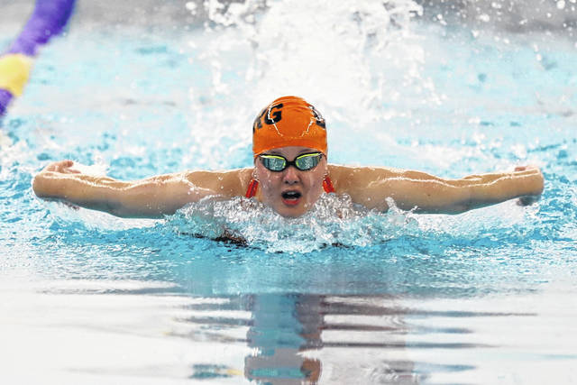 Wheelersburg senior Emily Boggs placed first in the 200-meter individual medley (3:17.14) and the 100-meter breaststroke (1:37.65) during last Wednesday's Southern Ohio Conference swim meet championships.