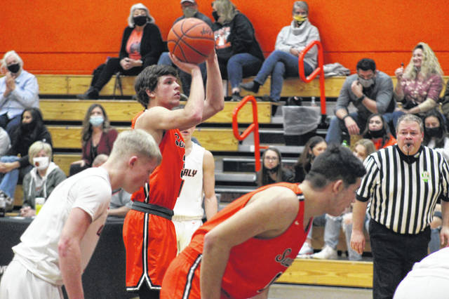 West senior Luke Howard (3) attempts a free throw during the second half of the Senators' 58-57 road win over Waverly in boys Southern Ohio Conference Division II play.