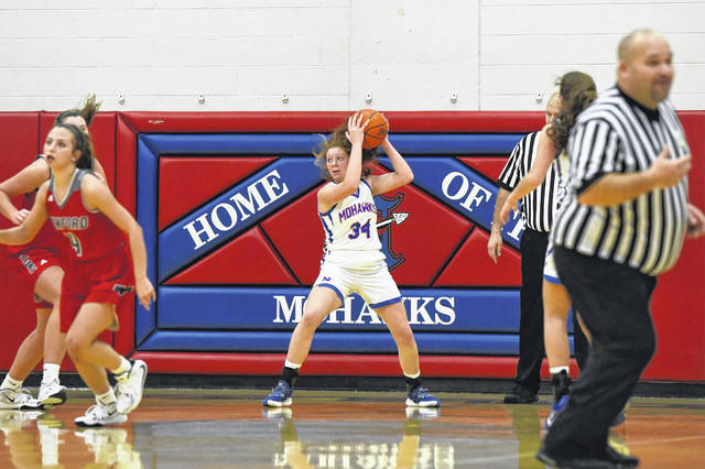 Northwest junior Kloe Montgomery (34) grabbed a career-high 22 rebounds in the Lady Mohawks' 32-30 home win over Minford in Southern Ohio Conference Division II play.
