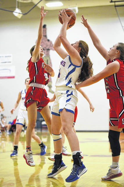 Northwest junior Kloe Montgomery (34) scored 10 points and grabbed 13 rebounds in the Lady Mohawks' 57-40 win over South Webster in SOC II play.