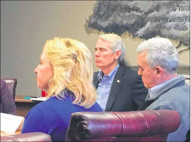 Sen. Rob Portman (center) visited Portsmouth for a round table discussion on the opioid epidemic with local leaders on Jan. 7, 2019. File photo.