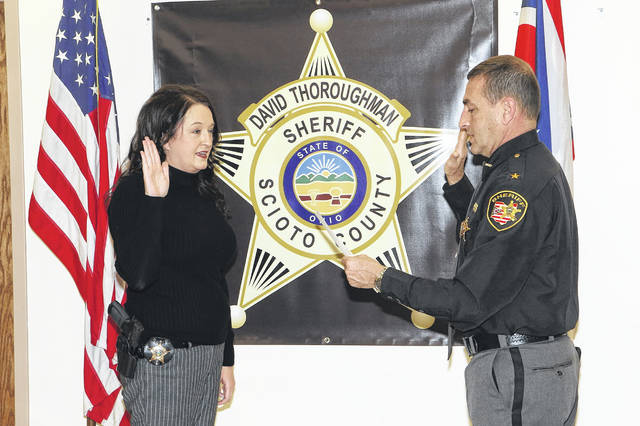 Sheriff David Thoroughman announced the promotion of Detective Jodi Conkel to Sergeant on Monday morning. Photo courtesy of the Scioto County Sheriff's Office.