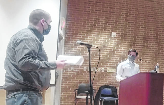 Now former Portsmouth City Environmental Health Director Andy Gedeon (left) discussed his new role during the Feb. 20 city organizational meeting. Photo by Patrick Keck.