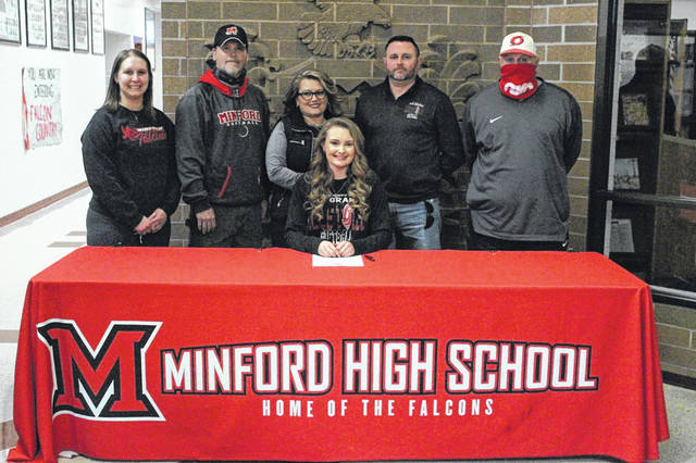 Minford High School senior Andrea Blevins, seated, announces her intention to play college softball at the University of Rio Grande. Pictured with Blevins are, from left, Minford High School assistant softball coach Brittyn Saunders, Minford High School head softball coach Art Doll, mother Jessica Blevins, father Jason Blevins and University of Rio Grande head softball coach Chris Hammond.