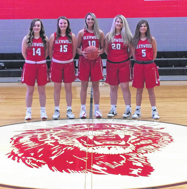 Members of the 2020-21 New Boston Lady Tigers girls basketball team are, from left, junior Kenzie Whitley, sophomore Dylan O'Rourke, senior Shelby Easter, freshman Cassie Williams and sophomore Cadence Williams.
