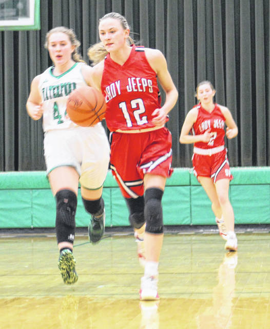 South Webster's Bri Claxon (12) paced the Lady Jeeps with 17 points in their Division IV district semifinal loss at Waterford on Thursday.