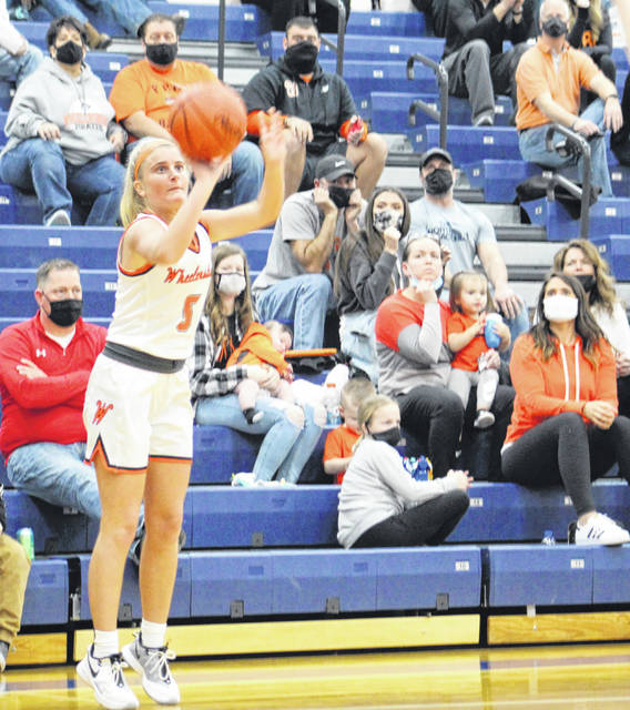 Wheelersburg's Madison Whittaker made four three-point goals in the Lady Pirates' 56-41 regional semifinal win on Wednesday night at Southeastern High School.