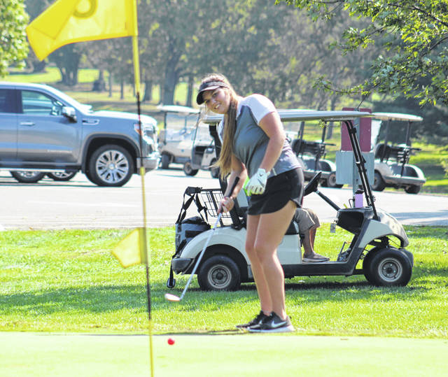 Minford senior Annie Lawson attempts this putt on the sixth hole during the 2020 Division II girls golf sectional tournament at Franklin Valley Golf Club.
