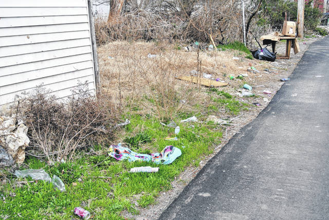 Alleyways like these are frequently littered in Portsmouth, going against city ordinances. With expanded abilities, the city is hoping the code enforcement office will be able to cut down the blight. Photos by Patrick Keck.