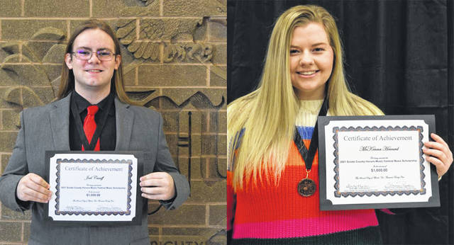 Two deserving students, Joel Caniff of Minford High School and McKenna Howard of Wheelersburg High School, each received a $1,000 scholarship to attend the university of their choice where they will be studying music.
