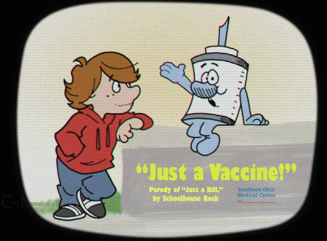 """The video """"Just a Vaccine,"""" traces the path of a vaccine from development to distribution. It highlights the extensive testing undergone by COVID vaccines to make sure they're safe and effective, as well as explaining how vaccines work."""