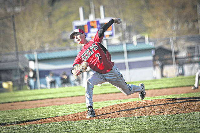 South Webster sophomore Robert Martin (7) struck out 10 Valley hitters and allowed six hits in his seven innings of work in the Jeeps' 3-2 loss to the Indians.