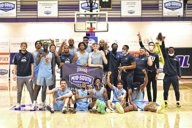The 2020-21 Shawnee State University men's basketball team won the program's first-ever Mid-South Conference Tournament championship with its 70-54 win over Thomas More on Tuesday night.