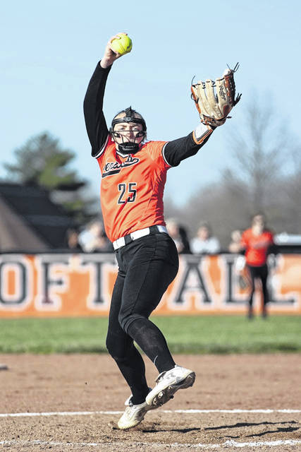 West pitcher Sydney McDermott (25) delivers a pitch to a Wheelersburg batter during Friday's Southern Ohio Conference Division II softball game at West High School.
