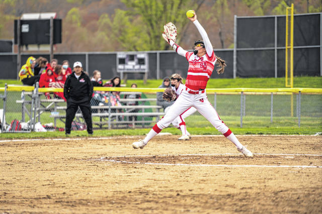 South Webster senior pitcher Gwen Messer (15) pitched a complete game in the Lady Jeeps' home meeting with Wheelersburg in SOC II play, Thursday.