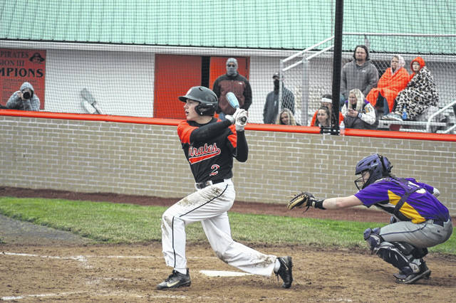 Wheelersburg senior Eric Green (2) hit leadoff and went 1-of-3 with a walk in the Pirates' 9-0 win over Valley to open SOC II play.