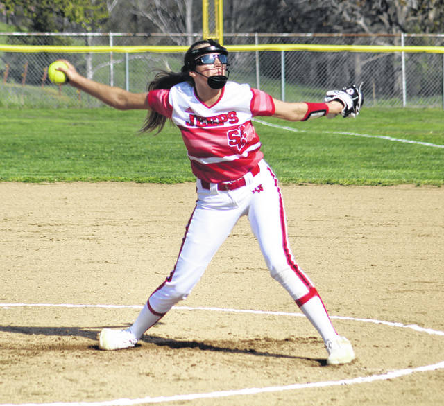 South Webster's Rylee McGraw tossed the first three innings en route to the pitching win in the Jeeps' 7-0 victory over visiting Gallia Academy on Tuesday.