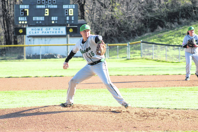 Green senior Levi Singleton (16) started on the mound for the Bobcats in their SOC I meeting with Clay.