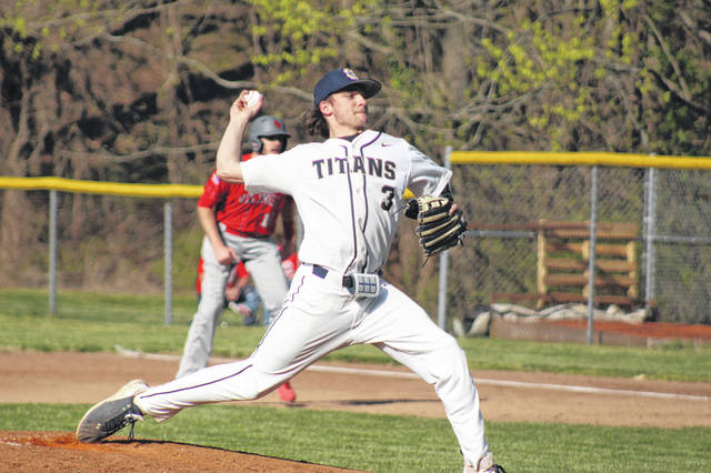 Notre Dame senior pitcher Caleb Nichols (3) delivers a pitch during the Titans' home contest versus Symmes Valley in Southern Ohio Conference Division I play.