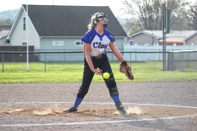 Clay junior Preslee Lutz (14) delivers a pitch during her 12-strikeout performance in the Panthers' 7-0 win over Green in SOC I play.