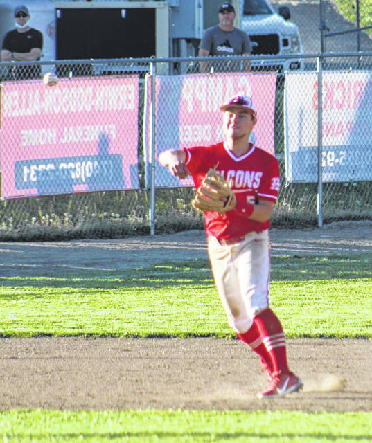 Minford shortstop Adam Crank (5) fires a throw to first base in the Falcons' Southern Ohio Conference Division II baseball game against Waverly on Monday.