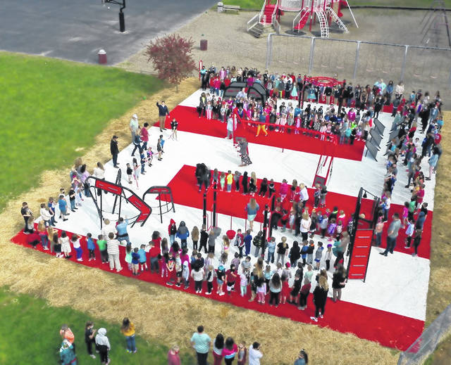 Aerial Photo of the dedication of the Minford Elementary School Playground with all the children from the school.