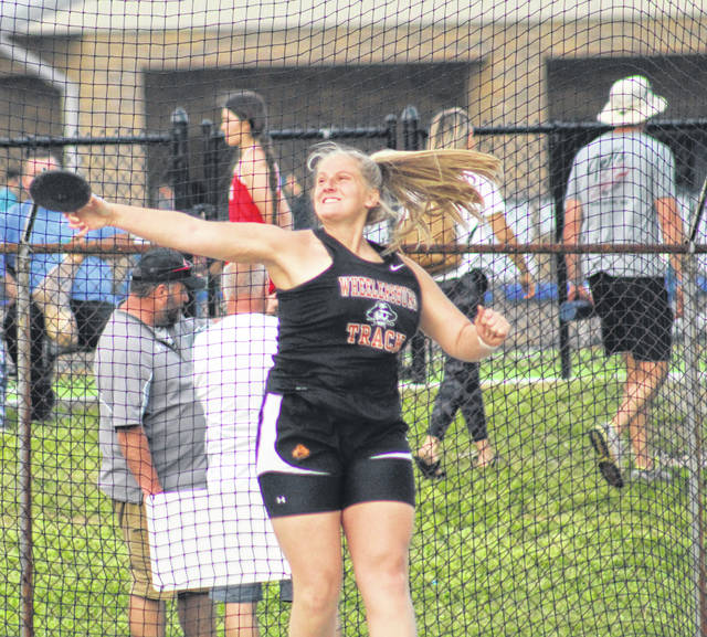 Wheelersburg's Karley Kouns was the runner-up in the girls discus throw as part of Tuesday's Mohawk Invitational track and field meet.
