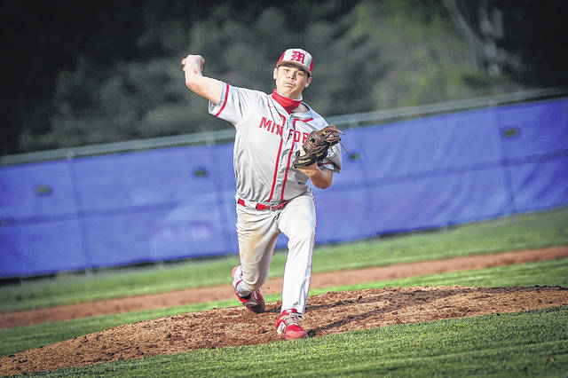 Minford sophomore Noah Martin (24) earned the win over Valley on the road Monday, allowing seven hits and two earned runs in eight complete innings.