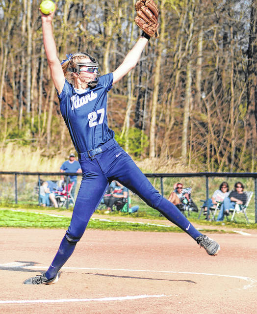 Notre Dame freshman pitcher Gwen Sparks (27) delivers a pitch to a Symmes Valley batter during Monday's Southern Ohio Conference Division I softball game at Notre Dame High School.