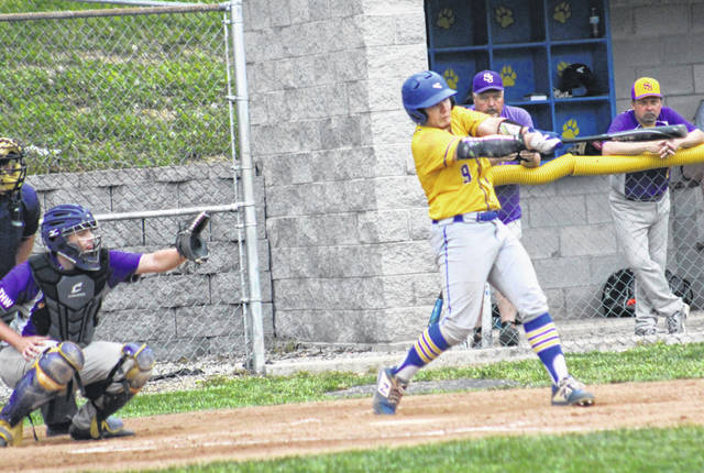 Clay senior Evan Woods bats in the opening inning of the Panthers' 9-3 Southern Ohio Conference Division I baseball victory over Ironton St. Joseph on Wednesday.