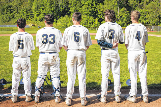 Notre Dame's senior class of Jake McGuire (5), Ethan Kammer (33), Chris Schmidt (6), Caleb Nichols (3), and Tucker Herrmann (4) helped earn a 5-4 win over Rock Hill on Thursday in non-league play.