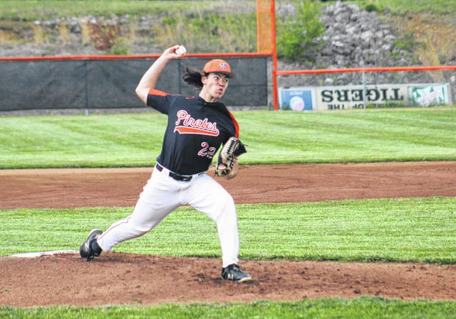 Wheelersburg senior Elias Robson (22) pitched the opening inning of the Pirates' Southern Ohio Conference Division II baseball game against Waverly.
