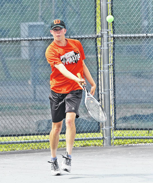 Wheelersburg's Nathan Sylvia competes during the 2021 Division II Singles District Tournament hosted by Shawnee State University.