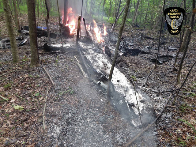 Ohio State Highway Patrol and local fire departments were on the scene in McDermott following a plane crash on Friday that killed two passengers
