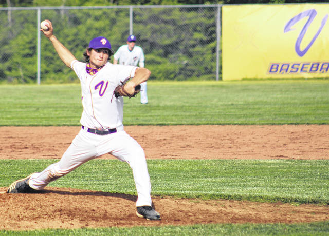Valley sophomore George Arnett (1) delivers a pitch to a Fairfield batter during Tuesday's Division IV baseball sectional championship game at Valley High School.