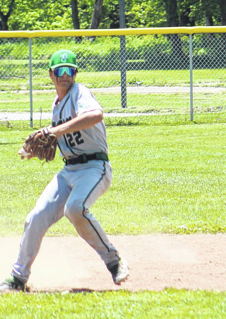 Green shortstop Nathan Brannigan (22) fires a throw to first base during the Bobcats' Division IV baseball sectional semifinal game at Trimble on Saturday.