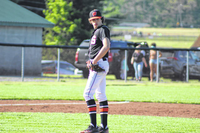 Portsmouth West senior Luke Howard (3) allowed three hits, no earned runs and struck out five in five innings during the Senators' 2-1 win over Valley in SOC II play.