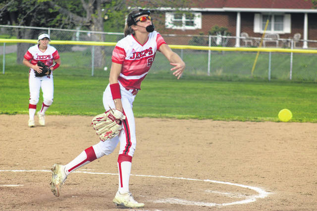 """<p style=""""text-align: left;"""">South Webster senior Gwen Messer (15) struck out 10 West hitters and allowed only five hits in the Lady Jeeps' 7-3 win to remain in contention for at-least a share of the SOC II championship."""