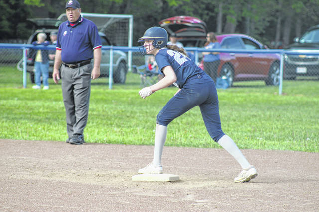 Notre Dame sophomore Annie Dettwiller (24) went 3-of-4 at the plate and scored a pair of runs in the Lady Titans' SOC title clinching victory over Clay on Thursday.