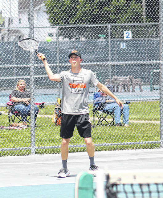 Wheelersburg's Nathan Sylvia competes in singles competition in Wednesday's Division II Southeast District boys sectional tennis tournament at Shawnee State University.