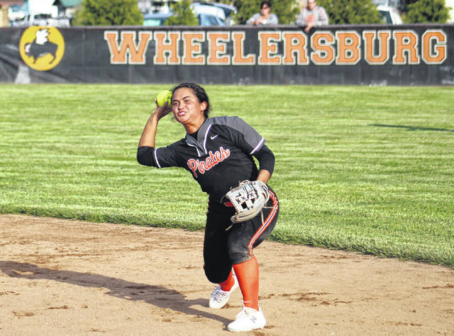 Wheelersburg second baseman Boo Sturgill fires a throw to first base during the Pirates' Southern Ohio Conference Division II softball game against South Webster on Friday.