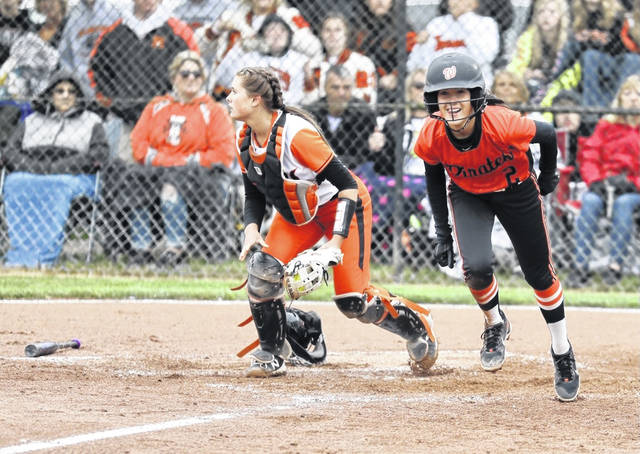 Wheelersburg sophomore Sydney Salyers (2) scored as a pinch-runner during the Lady Pirates' 9-1 win over Ironton in a Division III regional final.
