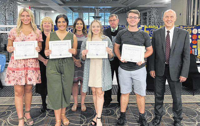 Pictured from left are: Maecee Johnson, South Webster; Angie Duduit, Kiwanis President; Tory Donini, Valley; Leigh Greene, Kiwanis Scholarship Co-Chair; Emmalee Maynard, Wheelersburg; Todd Medley, Kiwanis Scholarship Committee; Jaymes Jones, Clay; and Dr. Jeff Bauer, President, Shawnee State University. Not pictured are Matt Hammer and David Harting (Co-Chair) of the Kiwanis Scholarship committee.
